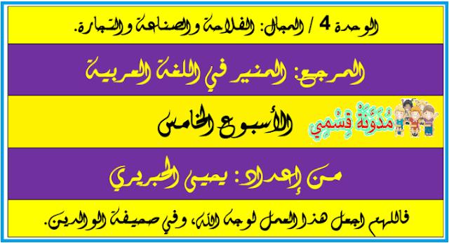 جذاذات المنير في اللغة العربية السنة الرابعة ابتدائي الوحدة 4