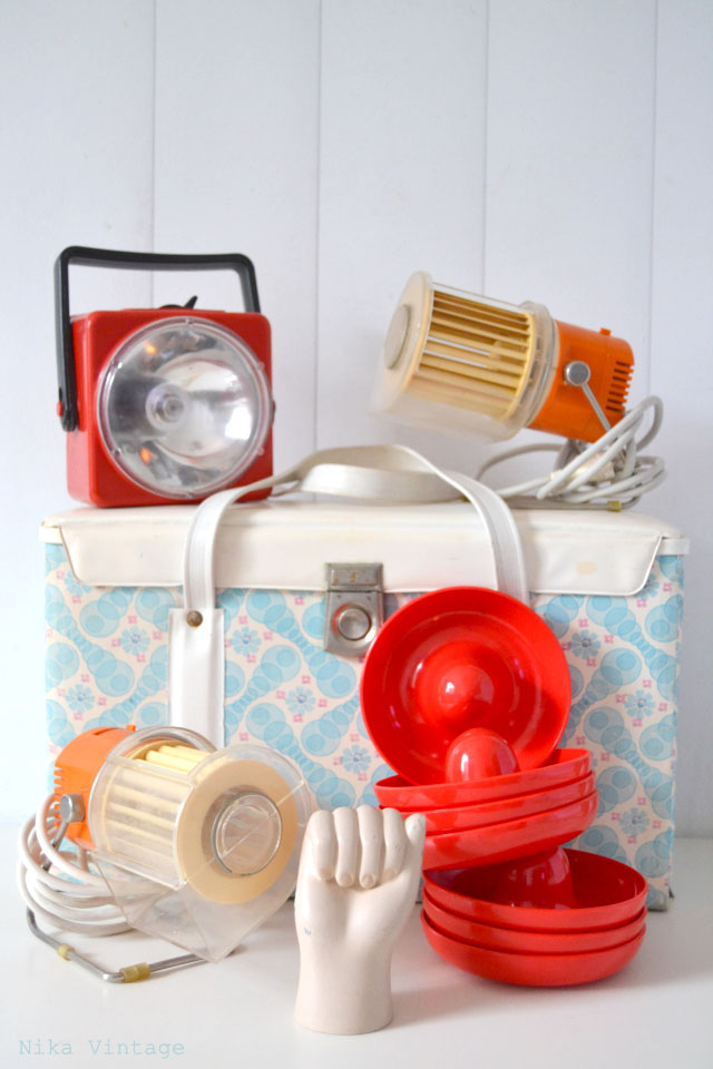 vintage, camping, termo, nevera, objetos vintage, decoracion, estilo de vida, linterna, ventilador, juegos de aperitivo