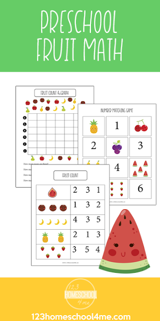 FREE Preschool Fruit Math Skills - these free printable math worksheets for preschoolers are such a fun way for kids to practice counting to 10, adding, and so much more.