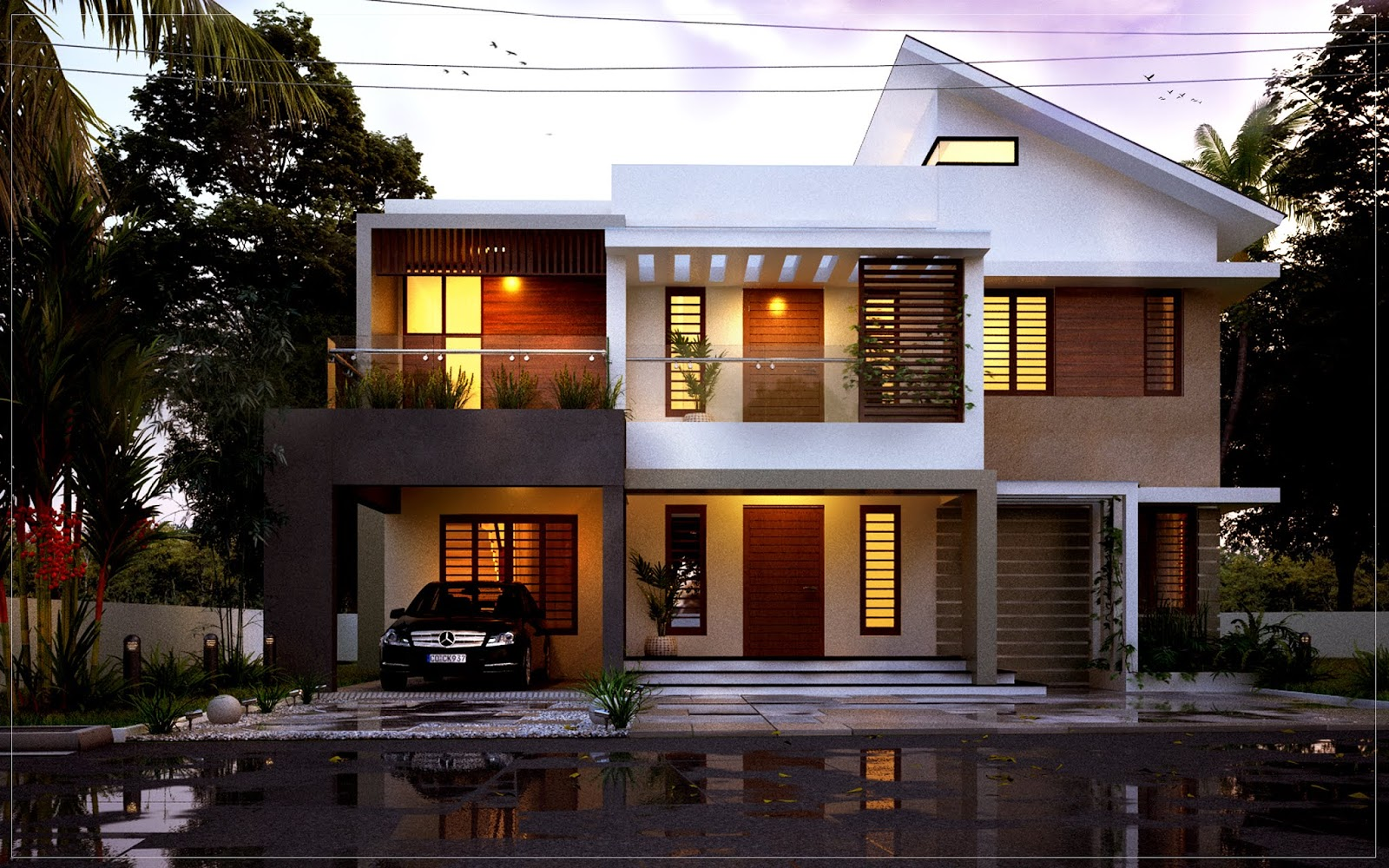 Contemporary style front view 1800 SQ FT 3 BED ROOM RESIDENCE