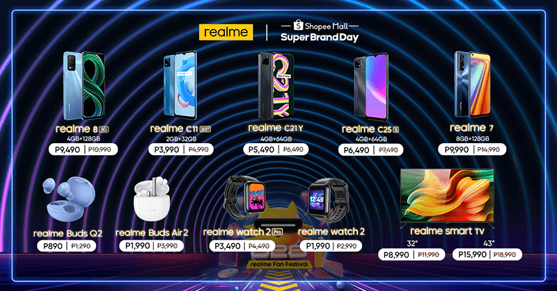 List of items included in realme's Shopee Super Brand Day Sale