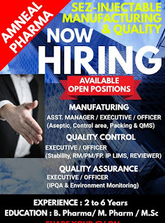 Officer/Sr. Officer/ Executive Jobs Vacancy For Amneal Pharmaceuticals Private Limited Ahmedabad, Gujarat Multiple Openings For Injectable Plant