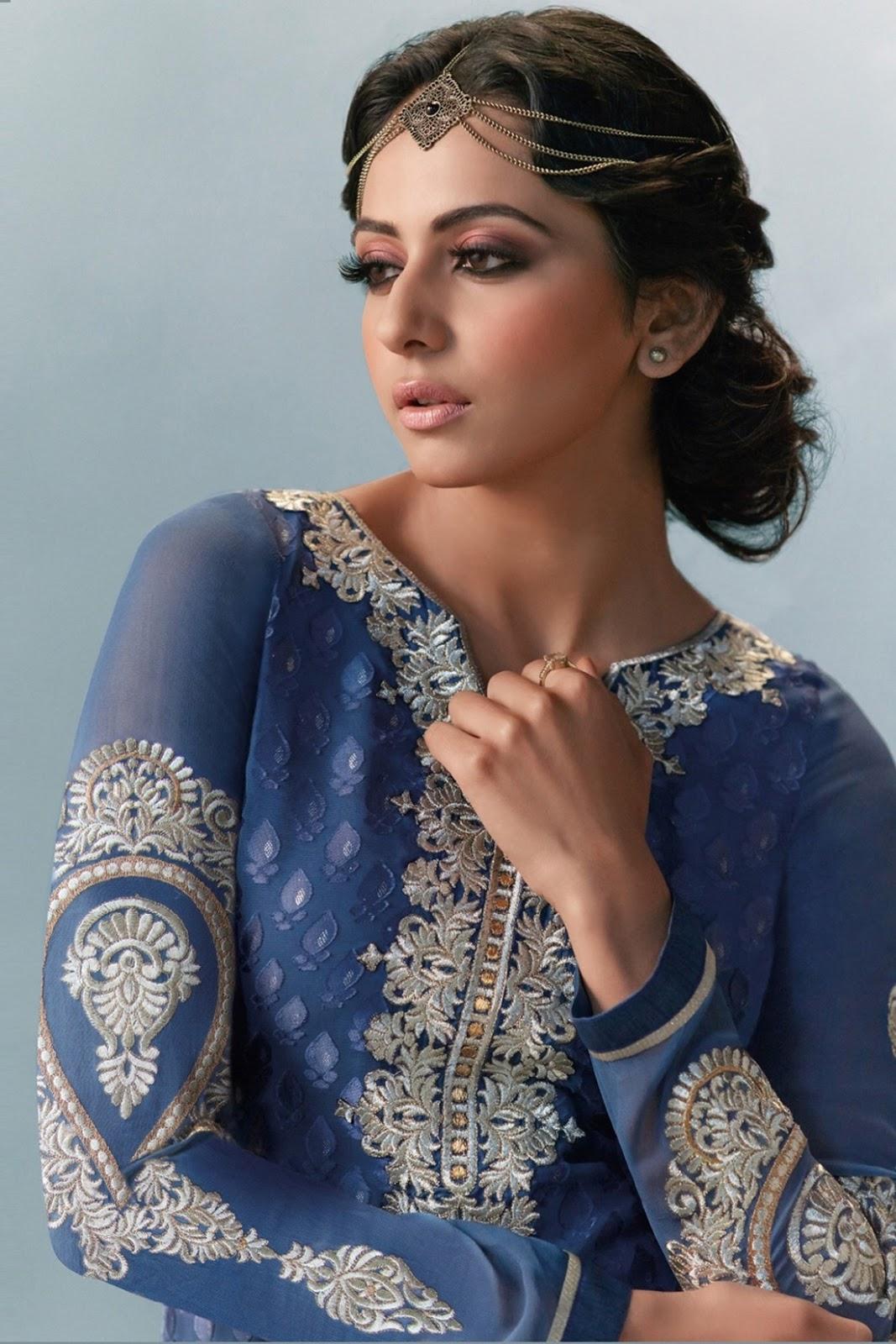 Rakul Preet Beautiful Stills In Blue Designer Dress