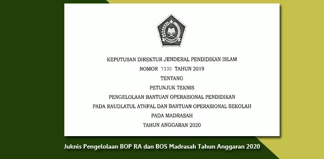 Juknis BOP RA dan BOS Madrasah Tahun Anggaran 2020