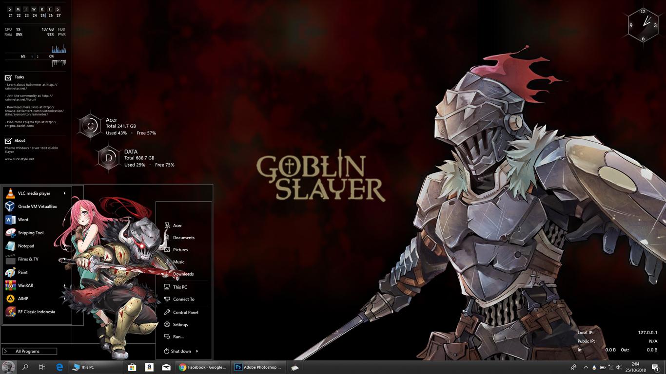 Theme Goblin Slayer for Windows 10 version 1803 - Anime Skin