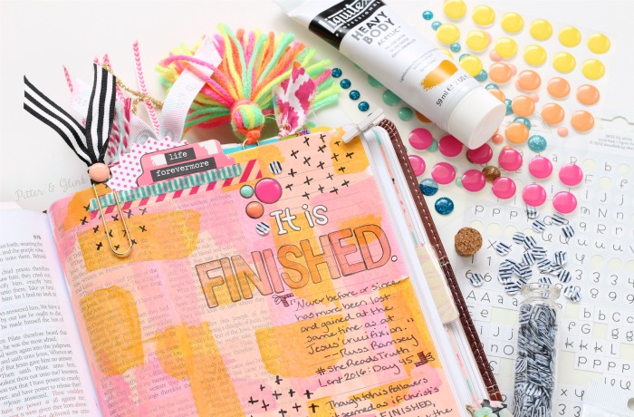 Good Friday Bible Journaling Entry: It Is Finished (John 19:30) | www.pitterandglink.com