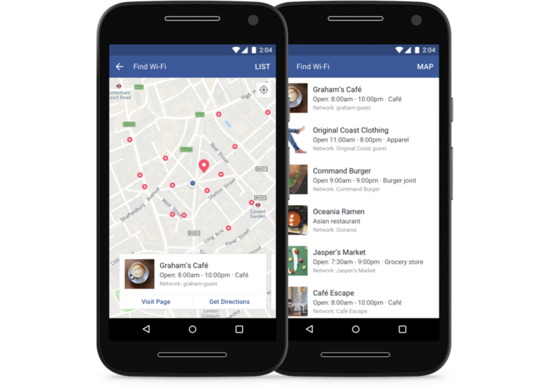 "Facebook's ""Find Wi-Fi"" tool"