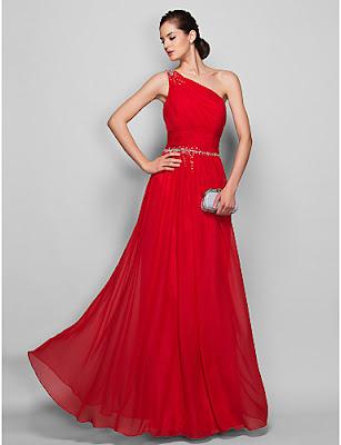 Vestido Rojo Un Sólo Hombro