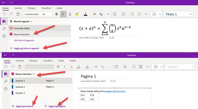 onenote-interfaccia