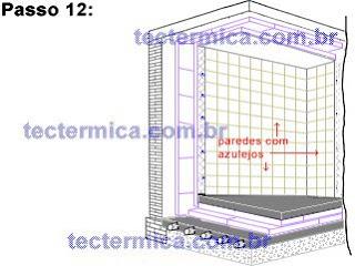isolamento térmico tradicional para câmara fria, detalhe do acabamento em azulejos