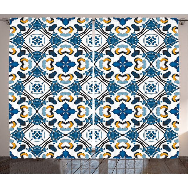 Classic Ceramic Decor Abstract Room Darkening Rod Pocket Curtain Panels