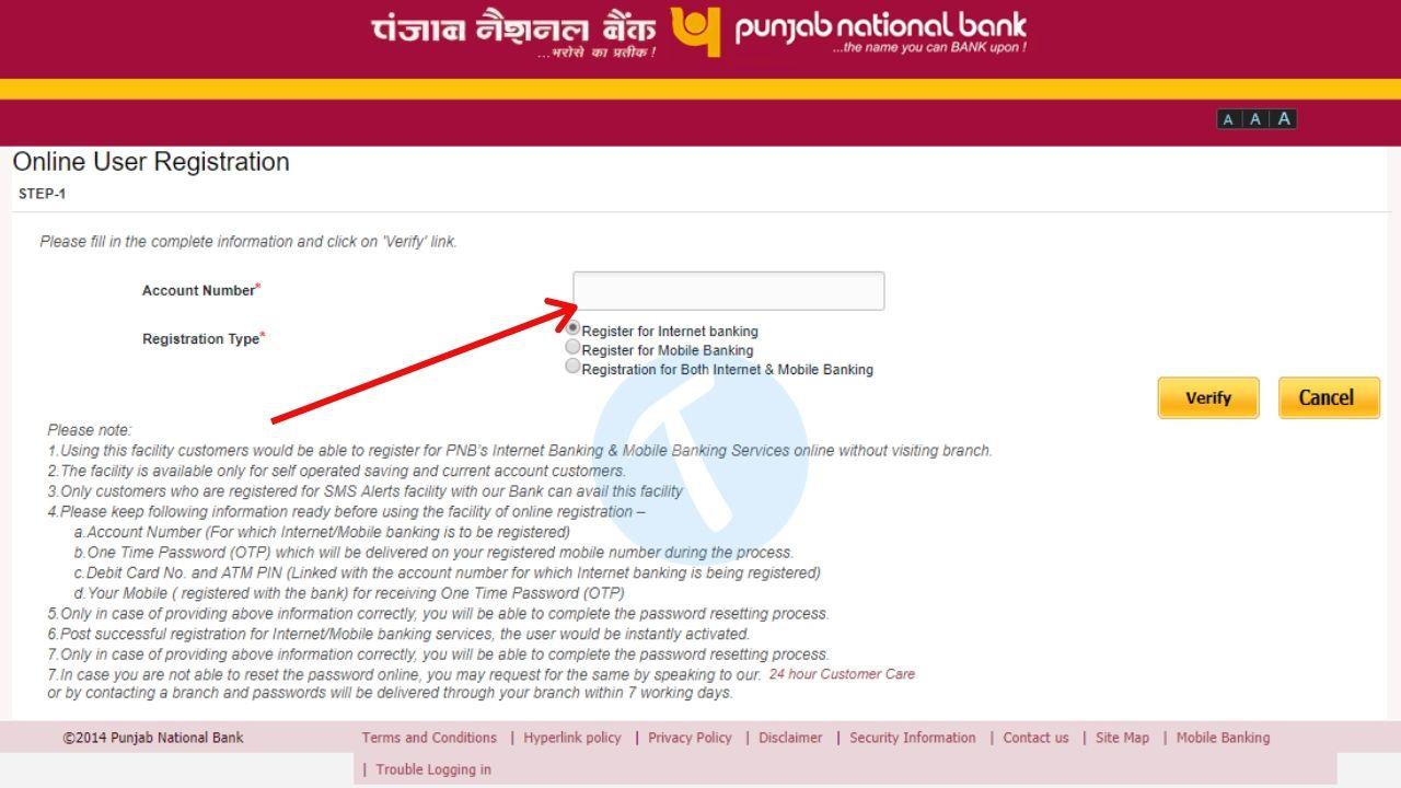 registration for pnb net banking