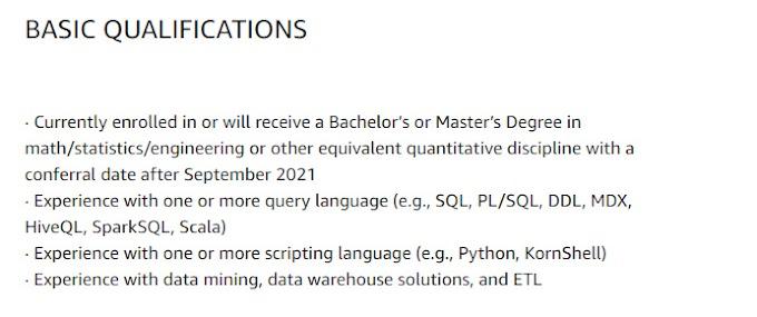 Amazon Internship for Data Engineer Internship