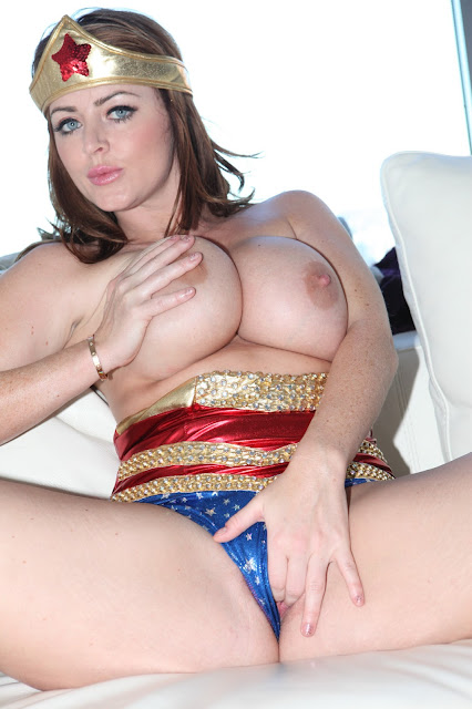Sophie Dee wonder woman finger in pussy naked boobs