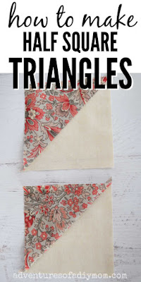 image of two half square triangle quilt blocks with the words how to make half square triangles