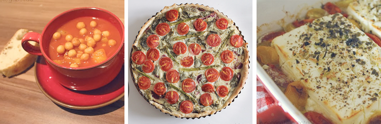Rezepte • Afrikanische Tomatensuppe, Tomaten-Bärlauch-Spargel-Quiche, Ofenschafskäse