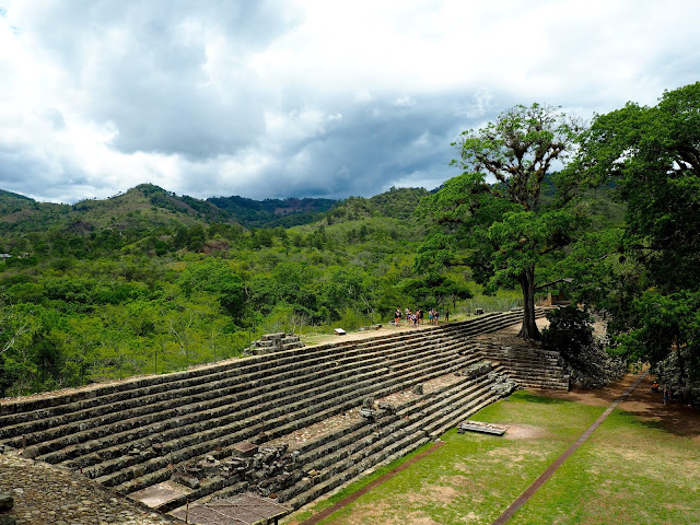 Mayan temple ruins and view of the hills and forest outside Copan, Honduras