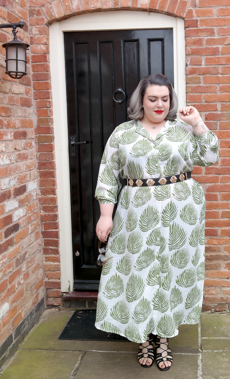 UK Plus Size Blogger Yours Clothing Palm Leaf Print Maxi Shirt Dress