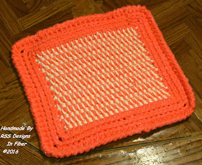 Orange Cream Potholders Handmade By RSS Designs In Fiber - Made-To-Order