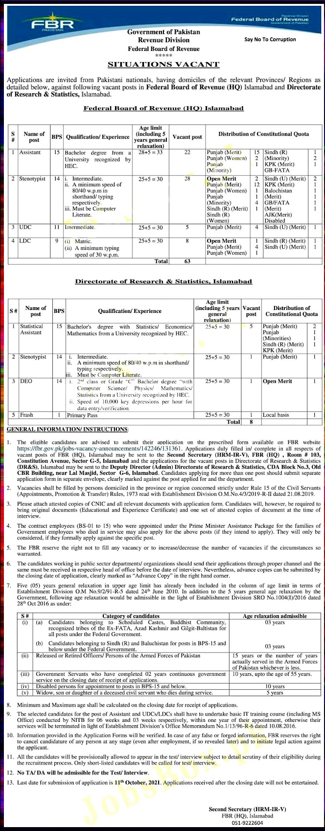 FBR Latest Jobs 2021 – Federal Board of Revenue FBR  Download Application Form 2021