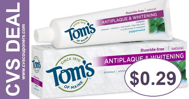 Tom's of Maine Toothpaste CVS Deal $0.29 98-914