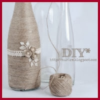 Botella jarrón de cuerda