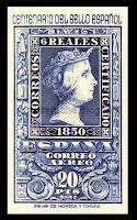 Filatelia - Centenario del Sello español (1950) - Valor de 20 pesetas - Correo aéreo