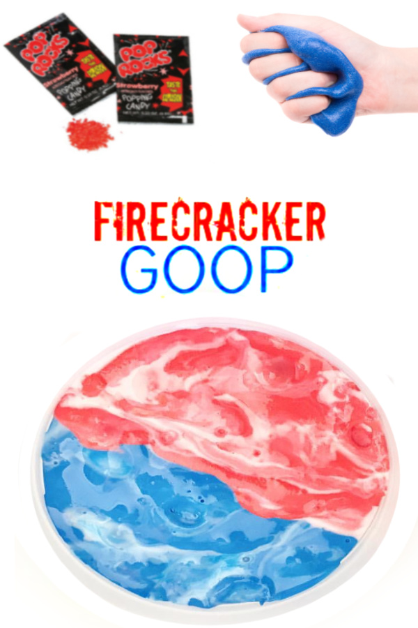 Make firecracker goop slime using Pop Rocks!  Kids of all ages are sure to love this popping, fizzing play recipe. #gooprecipe #goopforkids #firecrackerslime #firecrackergoop #goopslime #goopslimerecipe #poprocks #poprocksrecipe #poprocksslime #slimerecipe #slime #patrioticcrafts #growingajeweledrose