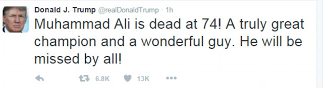 Donald Trump tweets that Muhammad Ali was 'a truly great champion and a wonderful guy'