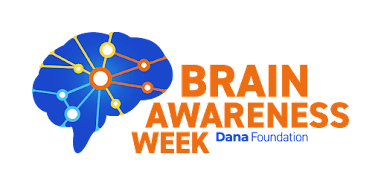 Illustration of a blue brain with coloured circles and lines connecting to the circles. In orange text it reads Brain Awareness Week.