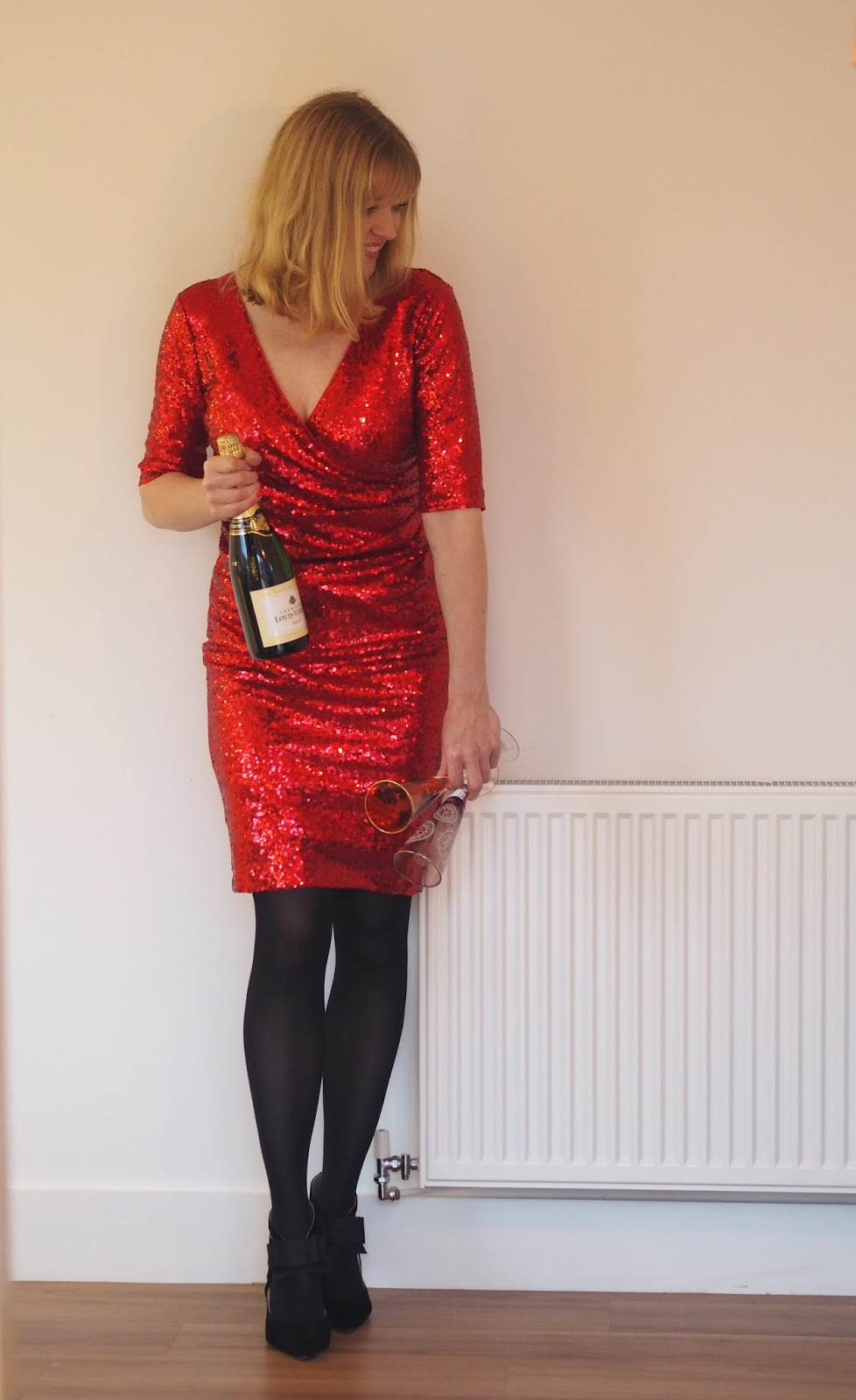 Red sequin dress for Christmas pasrty outfit