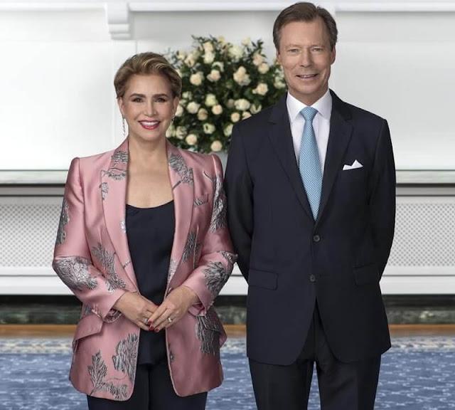 Grand Duchess Maria Teresa wore a floral brocade blazer by Alexander McQueen
