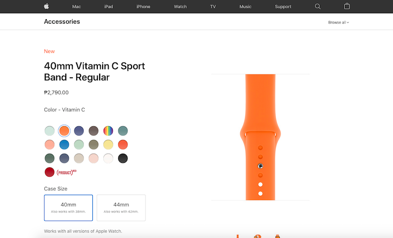 Apple Watch sport band in Vitamin C