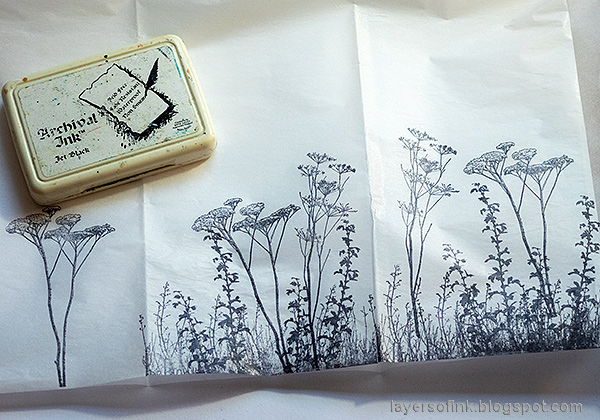 Layers of ink - DIY Chest of Drawers Tutorial by Anna-Karin Evaldsson. Stamp on tissue paper.