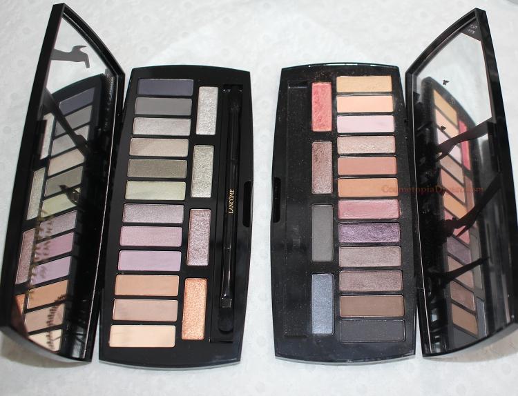 Lancome Auda[City] in London Eyeshadow Palette vs Paris palette comparison swatches