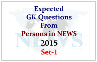 Expected GK Questions from Persons in NEWS 2015 Set-1
