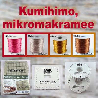 Kumihimo levy, kumihimo puolat, mikromakramee levy, satiininyöri - edullisesti netissä