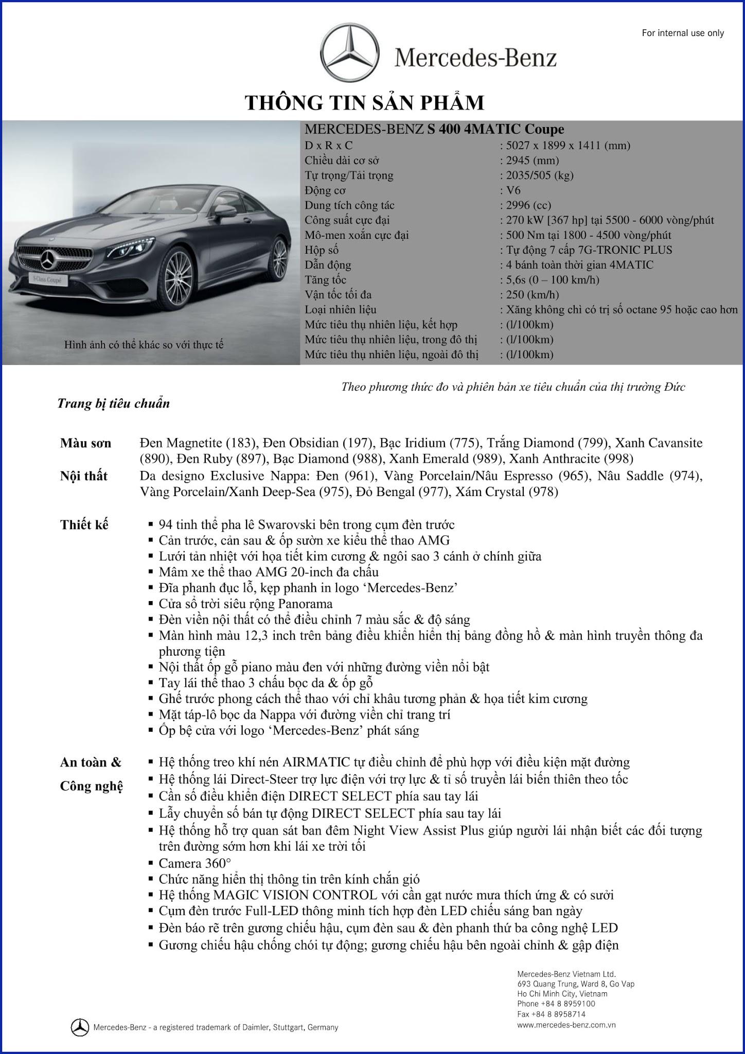 Bảng thông số kỹ thuật Mercedes S400 4MATIC Coupe 2017 tại Mercedes Trường Chinh