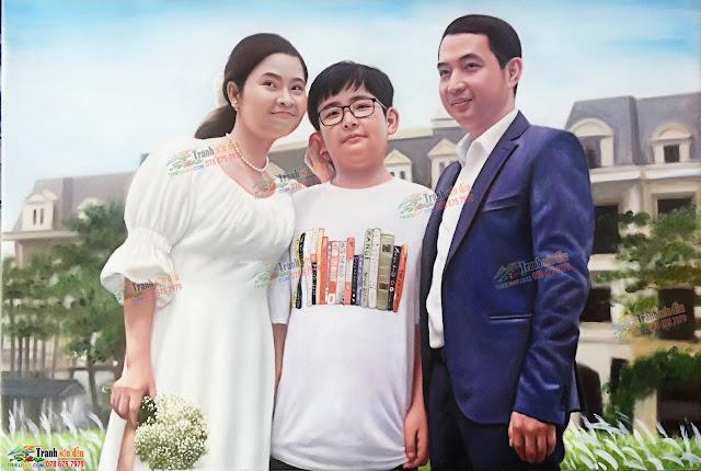 vẽ chân dung gia đình theo yêu cầu