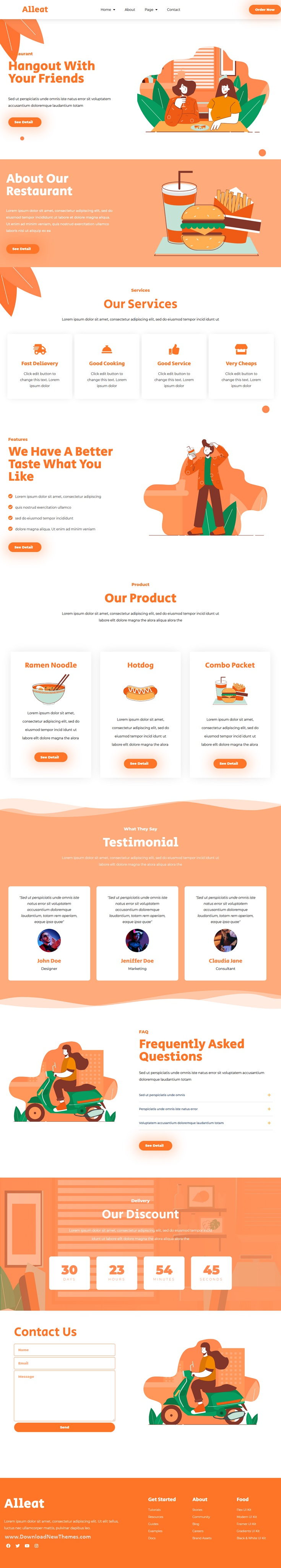 Restaurant and Cafe Elementor Template Kit