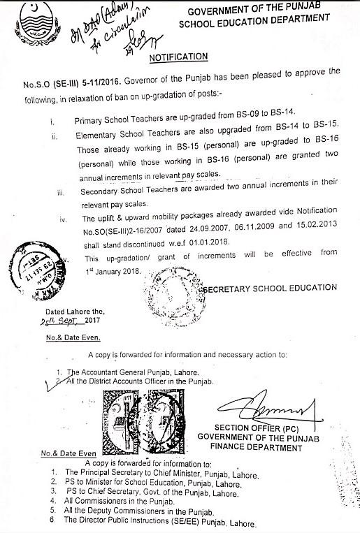 NOTIFICATION REGARDING UP-GRADATION / GRANT OF INCREMENTS TO THE SCHOOL TEACHERS OF PUNJAB