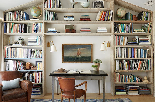 Leather chair, bookshelves, desk in office modern farmhouse neutral European antique style Patina Farm Giannetti Home