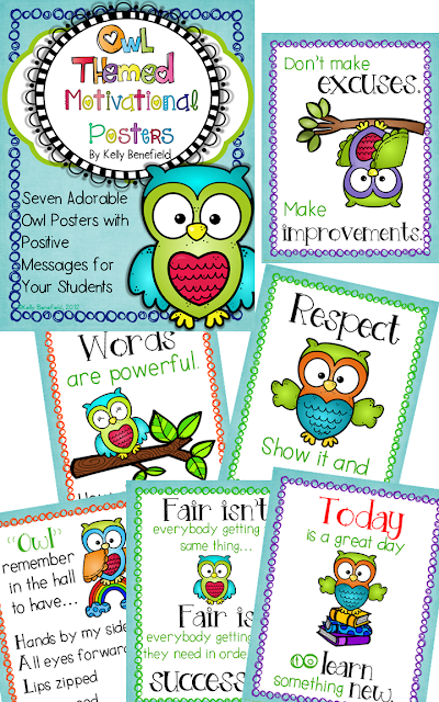 https://www.teacherspayteachers.com/Product/Owl-Themed-Motivational-Poster-Set-301709