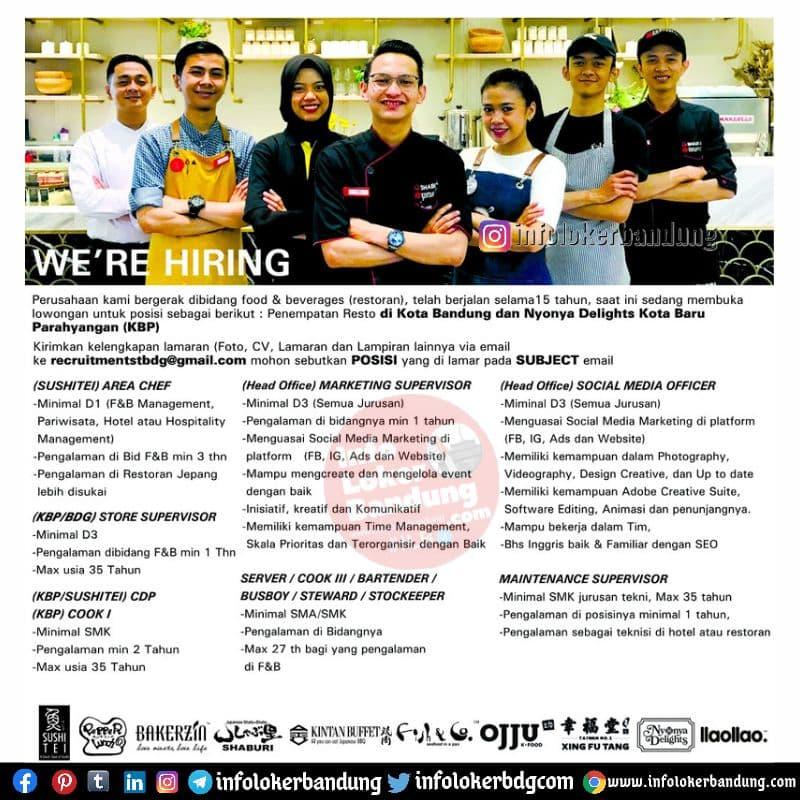 Lowongan Kerja Sushitei Group Bandung Mei 2021