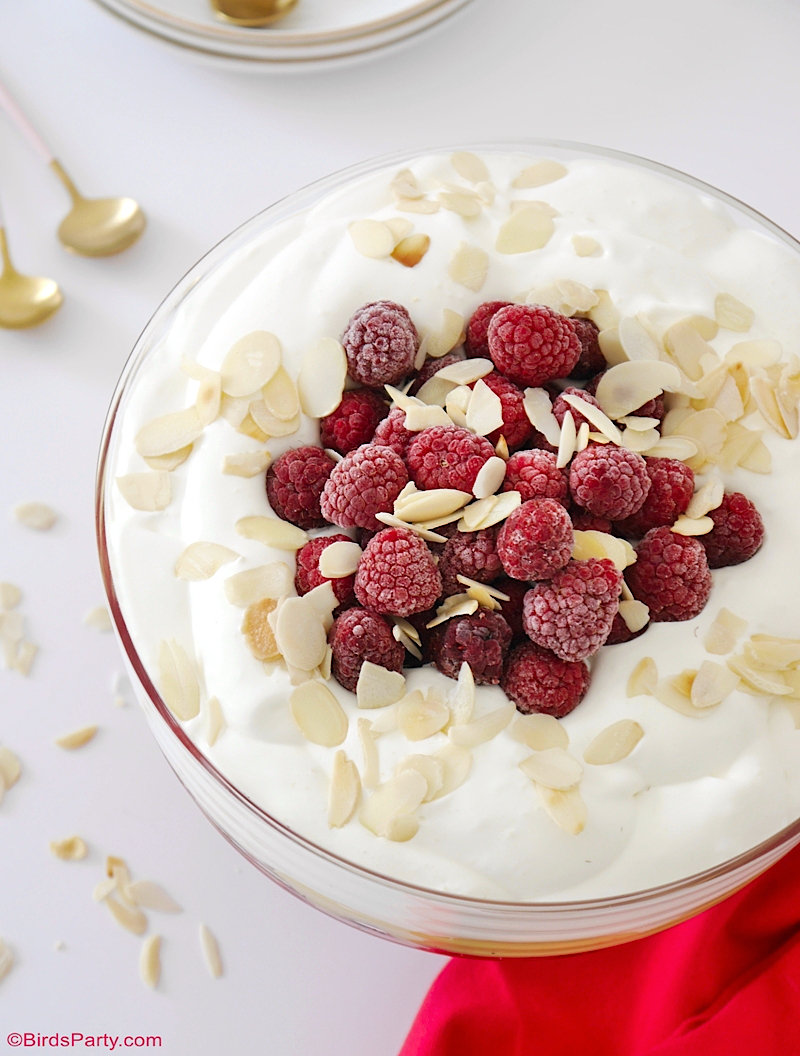 Classic English Trifle With Store Cupboard Ingredients and Frozen Raspberries - easy, quick, no-bake dessert that tastes delicious! by BirdsParty.com @birdsparty #trifle #recipe #raspberrytrifle #englishtrifle #easydessert #dessert #easter #fruitdessert #recipe