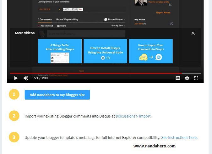 cara menambah komentar disqus di blog