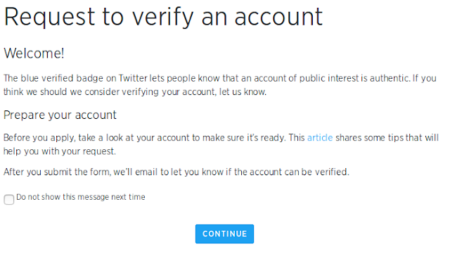 Request to verify twitter account