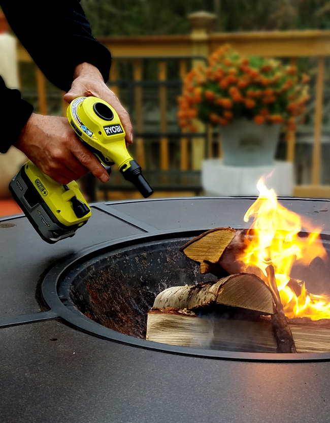 Ryobi volume inflator used to turn on firepit