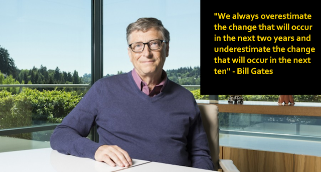 Bill Gates's quote on underestimating the change that will occur in the next ten years