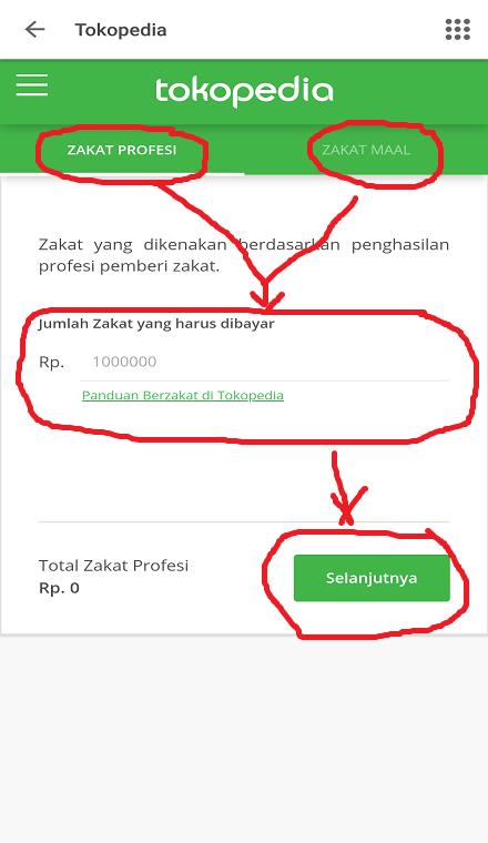 Membayar Zakat Profesi dan Zakat Maal di Marketplace Tokopedia.